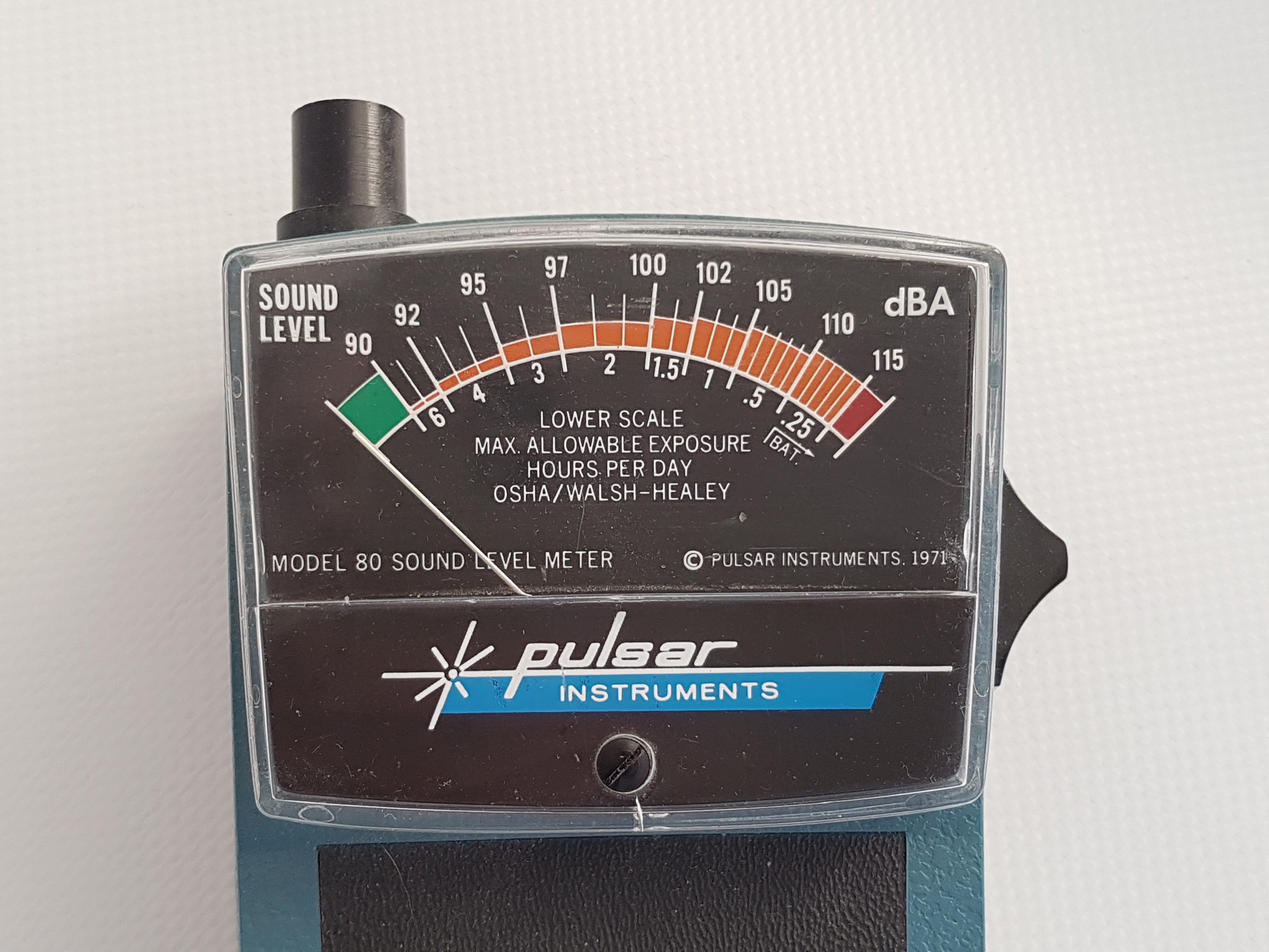 Original meter showing sound exposure times and sound levels